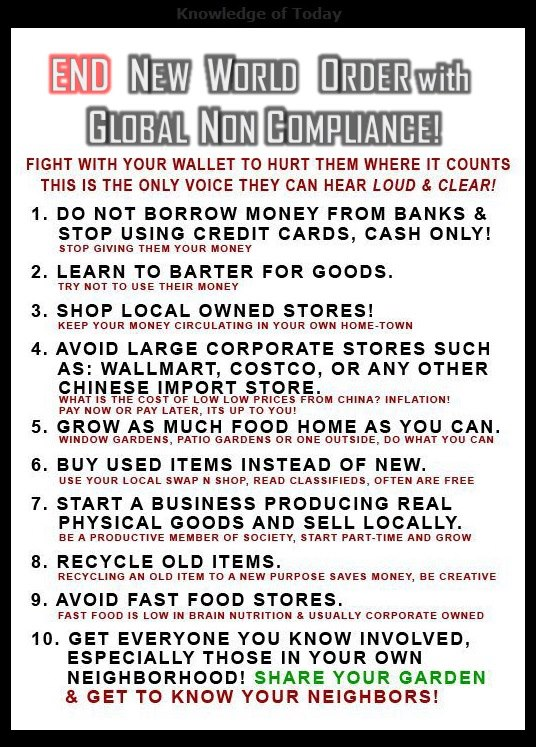 HOW TO STARVE THE BANKSTERS & HALT NWO