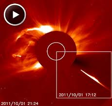 UFO Shoots Laser Beam Towards Dark Object Next To The Sun Sept 28, 2013