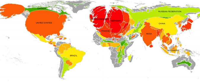 This Warped World Map Shows Global Warming's Biggest Offenders