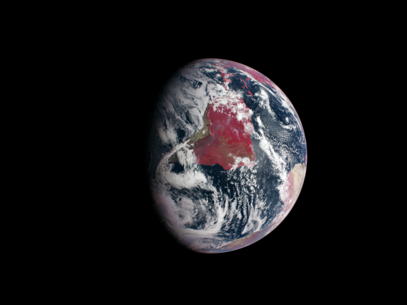 False-Color Image of Earth Highlights Plant Growth