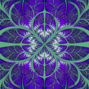 Symmetrical pattern of the leaves in purple and green. Collection - tree foliage. Computer generated graphics.