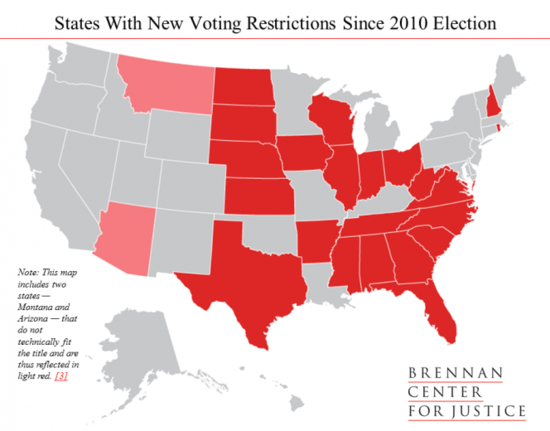 22 States Have Restricted Voting Rights