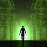Man-standing-at-lighted-door-within-green-matrix