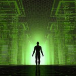 Man-standing-at-lighted-door-within-green-matrix-post
