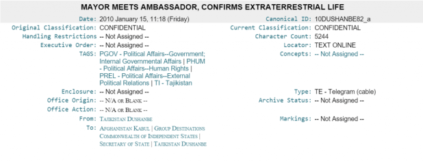 Wikileaks cable: MAYOR MEETS AMBASSADOR, CONFIRMS EXTRATERRESTRIAL LIFE