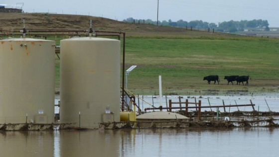 A fracking wastewater well in high water caused from flooding in East Boulder, Colorado.  (Photo/East Boulder County United via Facebook)