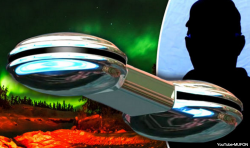A CGI of the alleged UFO made for MUFON video and (inset) the source