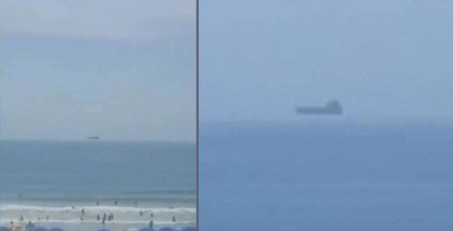 Tourist captures vessel floating above the horizon at Cocoa Beach, Florida [VIDEO]