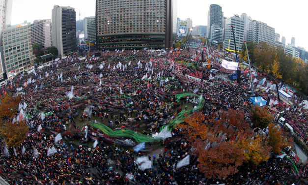 100,000s stage largest-ever protest in South Korea to demand president resign