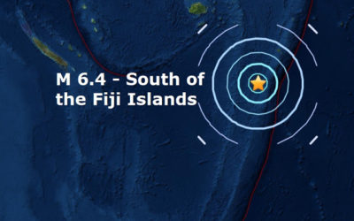 A mag 6.4 – South of the Fiji Islands is the 10th major quake of September and the 75th of 2017