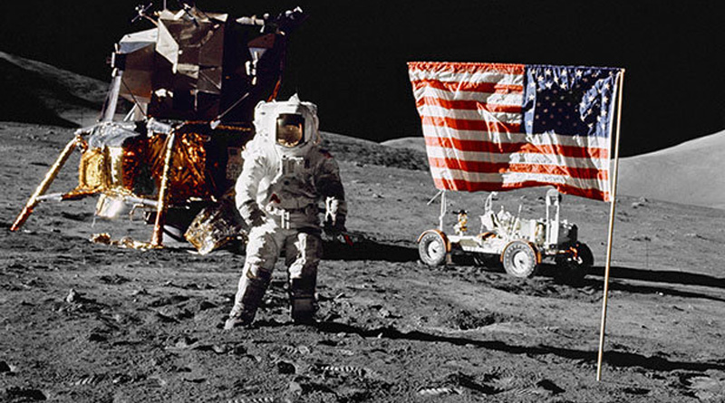 NASA clip showing astronaut 'held up by cable' proves Moon landing hoax