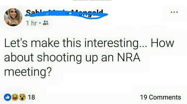 Sable Marie Mongold tweets about mass shooting of NRA members