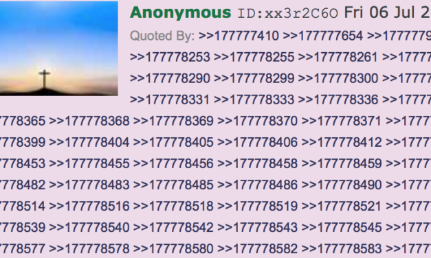 At 4chan/pol, they were obsessing over who would get the coveted post #177777777. When it came, it was a quote of John 14:6