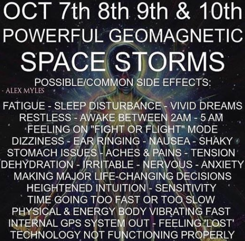 October 7th, 8th,9th, & 10th Powerful Geomagnetic Space Storms