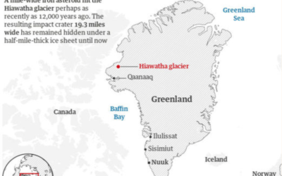 Giant impact crater found under Greenland ice, possibly 12,000 years old