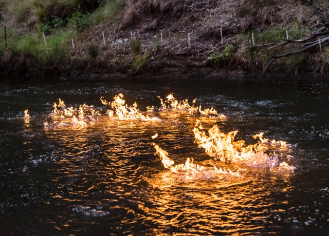 Fracking activity turns river into raging FIRE in shocking video from Australia