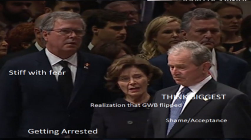 Something very BIG just happened at the Bush memorial service in D.C. -Did GWB flip?