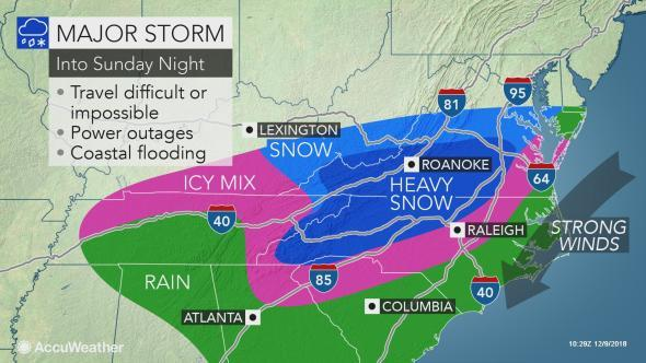 "State Of Emergency Declared As ""Historic Winter Storm"" Pounds Carolinas; 100,000 Without Power"