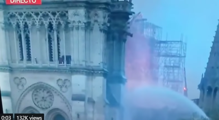 Mystery figure at Notre Dame cathedral fire [VIDEO]