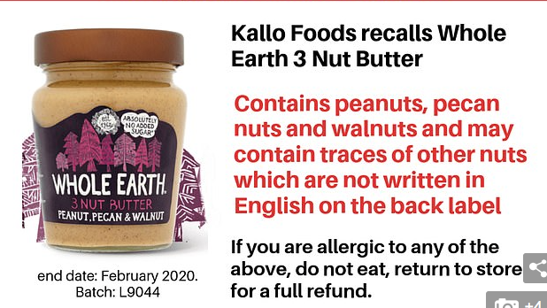 Peanut butter pulled from shelves because the jar doesn't warn it contains NUTS