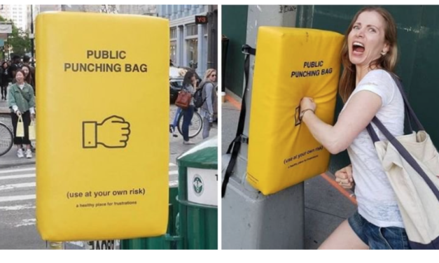 'Public Punching Bags' Installed Across Manhattan to Provide Relief to Frustrated New Yorkers