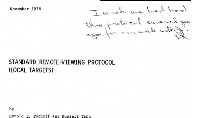 Standard Remote-Viewing Protocol (Local Targets) by Dr. Harold E. Puthoff and Russell Targ, November 1978