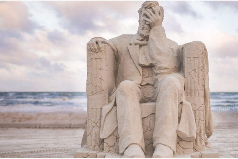 A Sand Sculpture Of A Facepalming Abraham Lincoln Just Won The SandFest Award