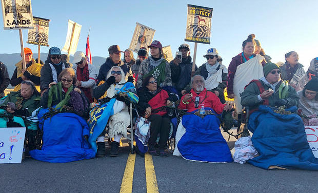 Native Hawaiian Activists block road in protests over Hawaii telescope location