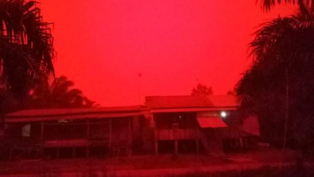 Sky Turns Blood Red in Indonesia