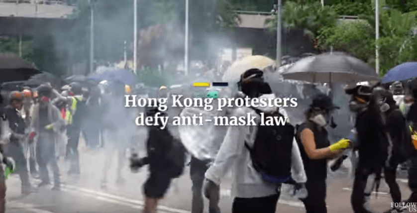 Hong Kong protesters defy anti-mask law [VIDEO]